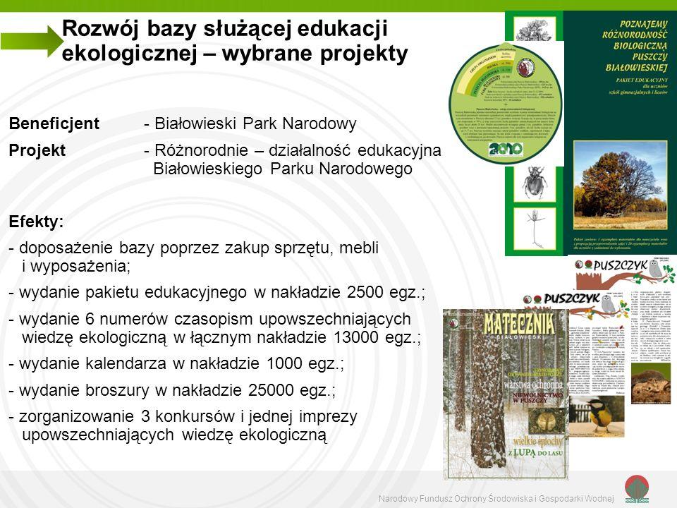 Narodowy Fundusz Ochrony Środowiska i Gospodarki Wodnej Rozwój bazy służącej edukacji ekologicznej – wybrane projekty Beneficjent - Białowieski Park N