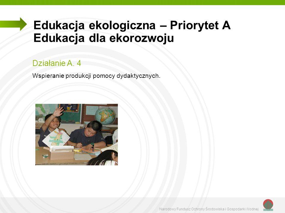 Narodowy Fundusz Ochrony Środowiska i Gospodarki Wodnej Edukacja ekologiczna – Priorytet A Edukacja dla ekorozwoju Działanie A. 4 Wspieranie produkcji