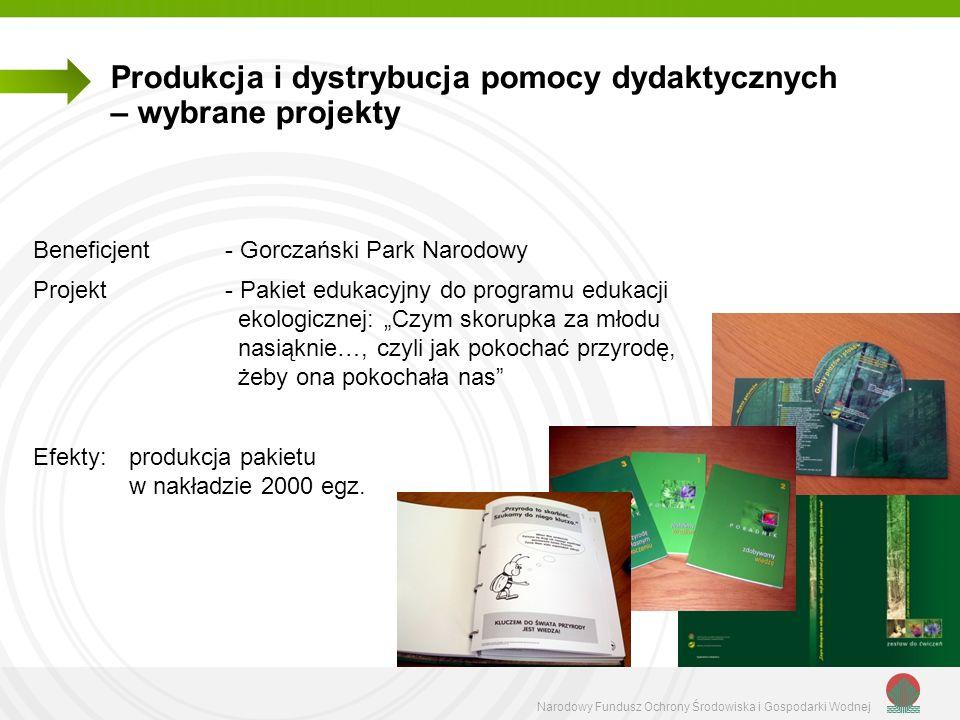 Narodowy Fundusz Ochrony Środowiska i Gospodarki Wodnej Beneficjent - Gorczański Park Narodowy Projekt - Pakiet edukacyjny do programu edukacji ekolog
