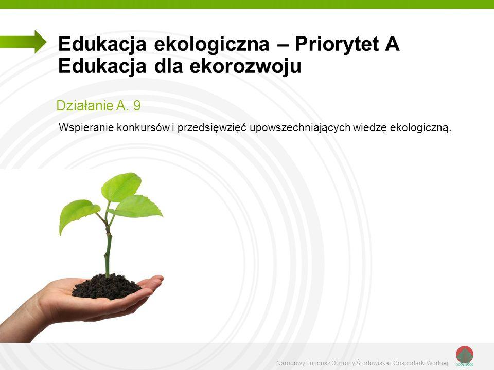 Narodowy Fundusz Ochrony Środowiska i Gospodarki Wodnej Edukacja ekologiczna – Priorytet A Edukacja dla ekorozwoju Działanie A. 9 Wspieranie konkursów