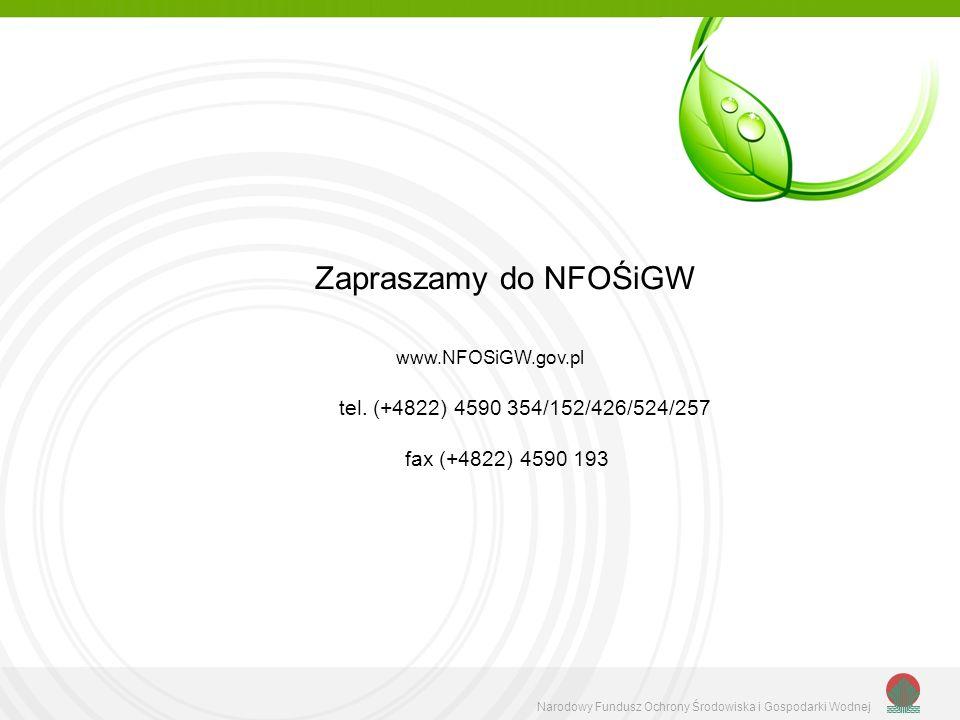 Narodowy Fundusz Ochrony Środowiska i Gospodarki Wodnej Zapraszamy do NFOŚiGW www.NFOSiGW.gov.pl tel. (+4822) 4590 354/152/426/524/257 fax (+4822) 459