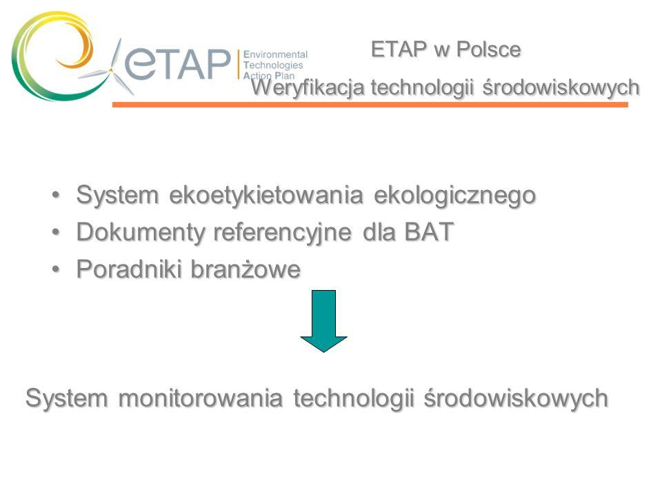 ETAP w Polsce Weryfikacja technologii środowiskowych System ekoetykietowania ekologicznegoSystem ekoetykietowania ekologicznego Dokumenty referencyjne
