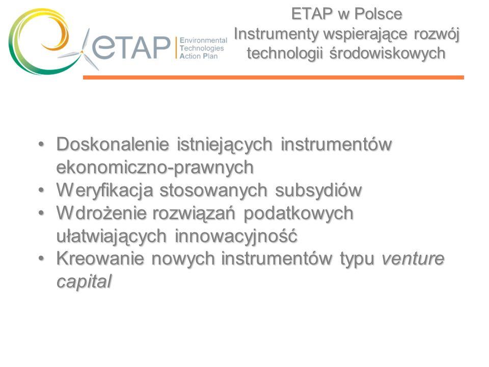 ETAP w Polsce Instrumenty wspierające rozwój technologii środowiskowych Doskonalenie istniejących instrumentów ekonomiczno-prawnychDoskonalenie istnie
