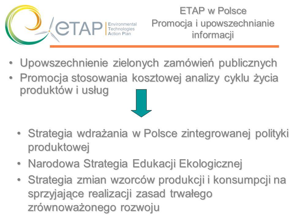 ETAP w Polsce Promocja i upowszechnianie informacji Upowszechnienie zielonych zamówień publicznychUpowszechnienie zielonych zamówień publicznych Promo