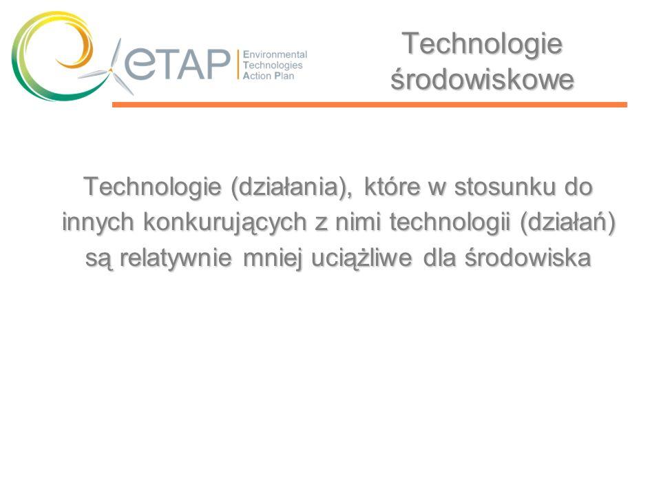 ETAP w Polsce Instrumenty wspierające rozwój technologii środowiskowych Doskonalenie istniejących instrumentów ekonomiczno-prawnychDoskonalenie istniejących instrumentów ekonomiczno-prawnych Weryfikacja stosowanych subsydiówWeryfikacja stosowanych subsydiów Wdrożenie rozwiązań podatkowych ułatwiających innowacyjnośćWdrożenie rozwiązań podatkowych ułatwiających innowacyjność Kreowanie nowych instrumentów typu venture capitalKreowanie nowych instrumentów typu venture capital
