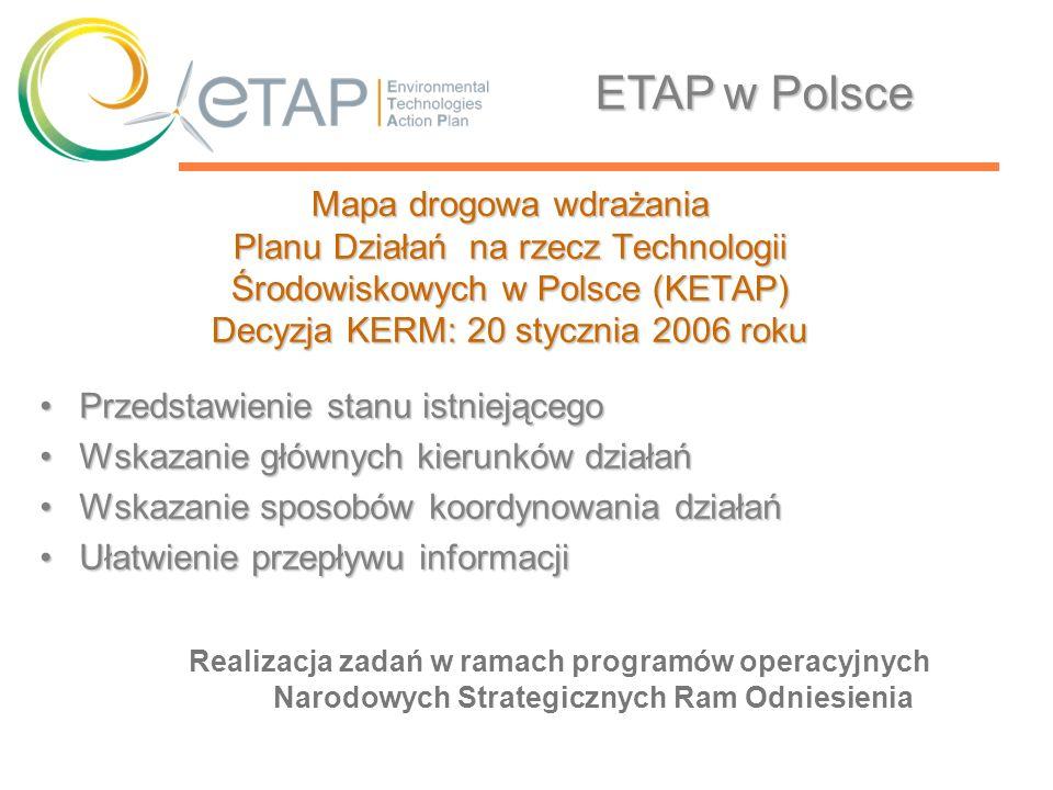 Mapa drogowa wdrażania Planu Działań na rzecz Technologii Środowiskowych w Polsce (KETAP) Decyzja KERM: 20 stycznia 2006 roku Przedstawienie stanu ist