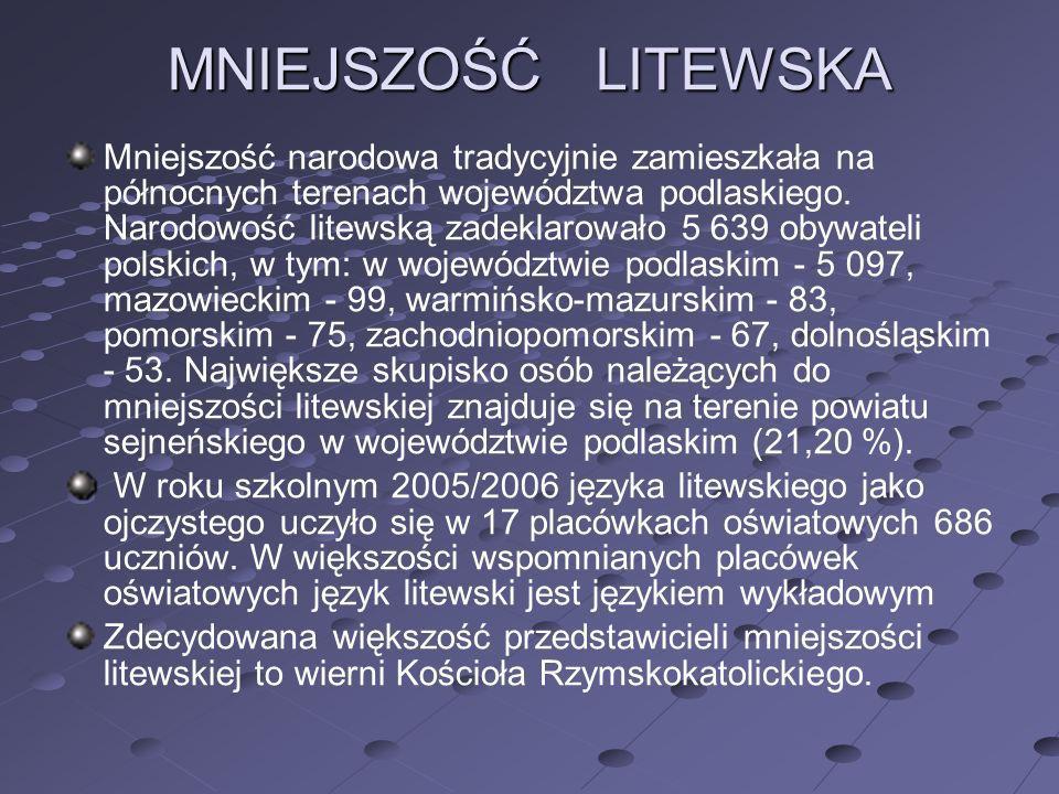 MNIEJSZOŚĆ LITEWSKA Mniejszość narodowa tradycyjnie zamieszkała na północnych terenach województwa podlaskiego. Narodowość litewską zadeklarowało 5 63