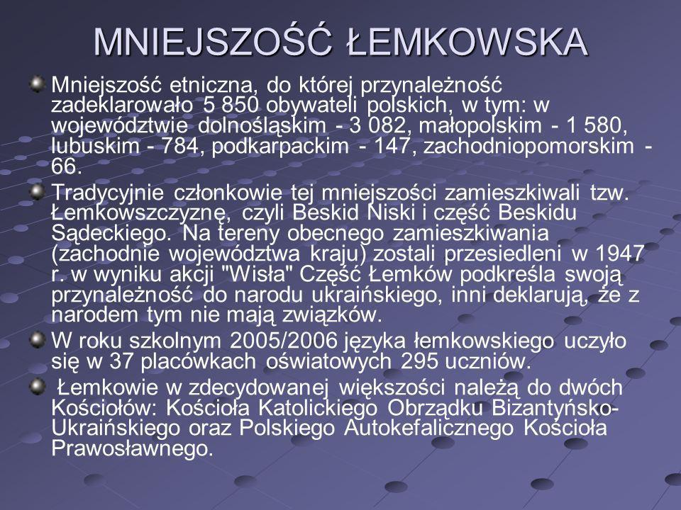 MNIEJSZOŚĆ ŁEMKOWSKA Mniejszość etniczna, do której przynależność zadeklarowało 5 850 obywateli polskich, w tym: w województwie dolnośląskim - 3 082,