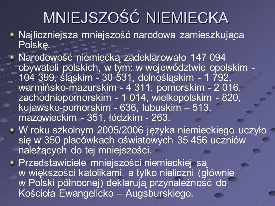 MNIEJSZOŚĆ NIEMIECKA Najliczniejsza mniejszość narodowa zamieszkująca Polskę. Narodowość niemiecką zadeklarowało 147 094 obywateli polskich, w tym: w