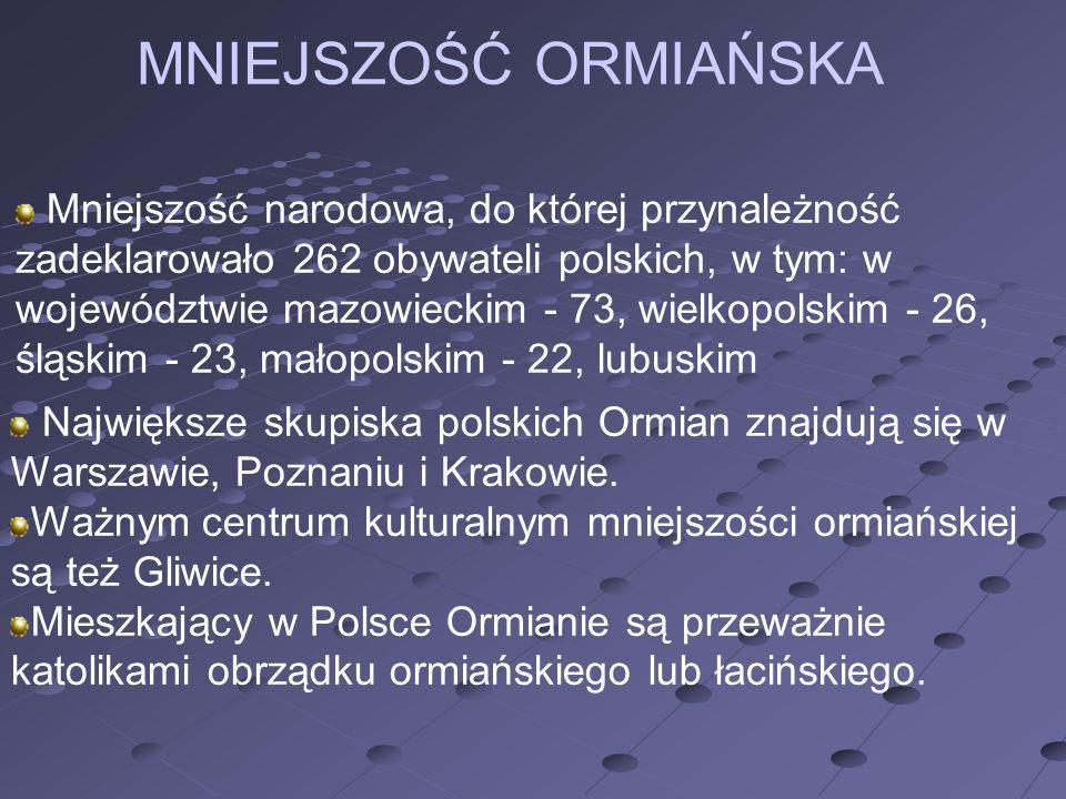 Mniejszość narodowa, do której przynależność zadeklarowało 262 obywateli polskich, w tym: w województwie mazowieckim - 73, wielkopolskim - 26, śląskim