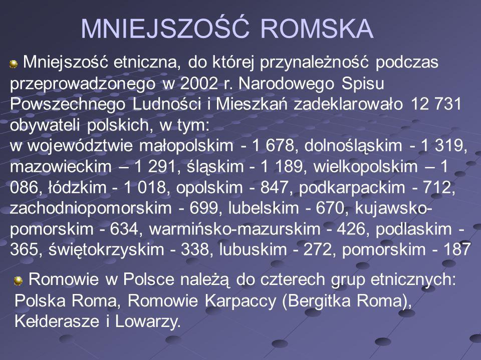 MNIEJSZOŚĆ ROMSKA Mniejszość etniczna, do której przynależność podczas przeprowadzonego w 2002 r. Narodowego Spisu Powszechnego Ludności i Mieszkań za