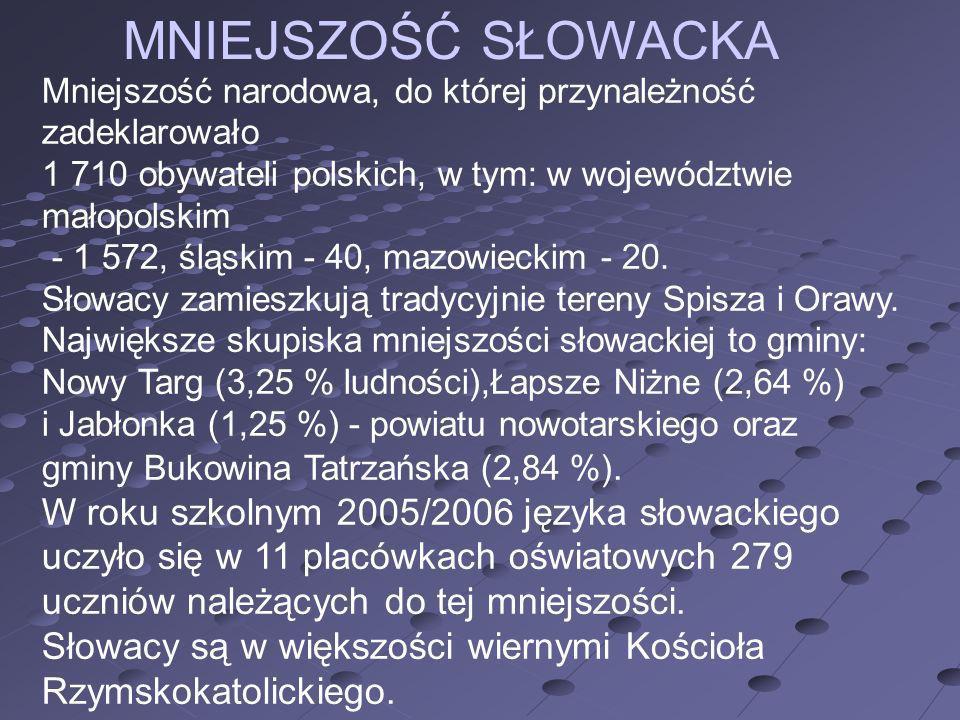 MNIEJSZOŚĆ SŁOWACKA Mniejszość narodowa, do której przynależność zadeklarowało 1 710 obywateli polskich, w tym: w województwie małopolskim - 1 572, śl