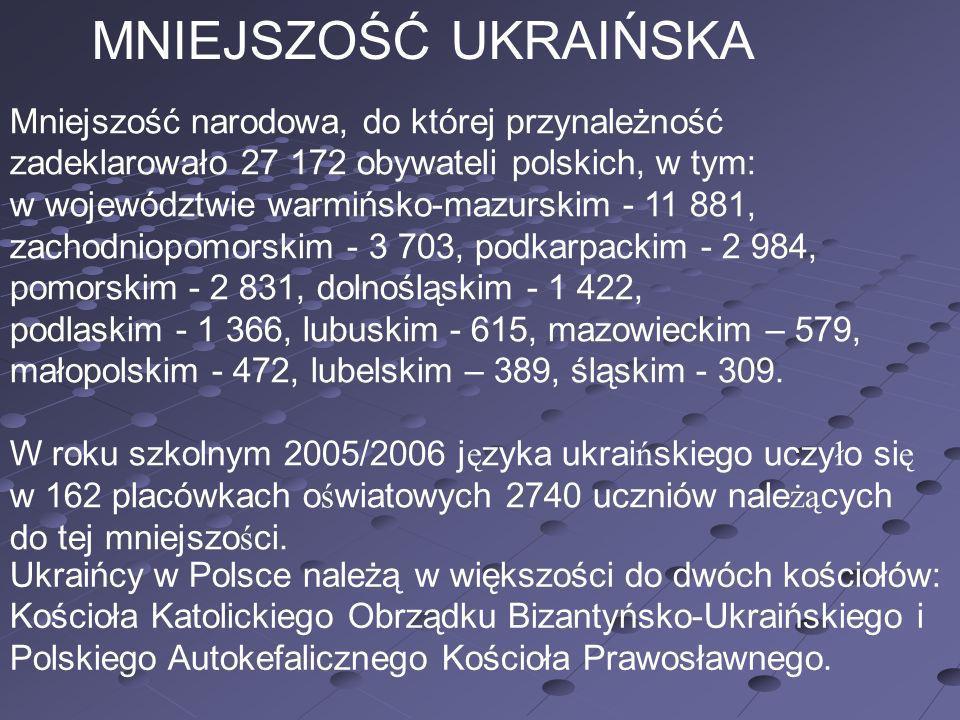 MNIEJSZOŚĆ UKRAIŃSKA Mniejszość narodowa, do której przynależność zadeklarowało 27 172 obywateli polskich, w tym: w województwie warmińsko-mazurskim -