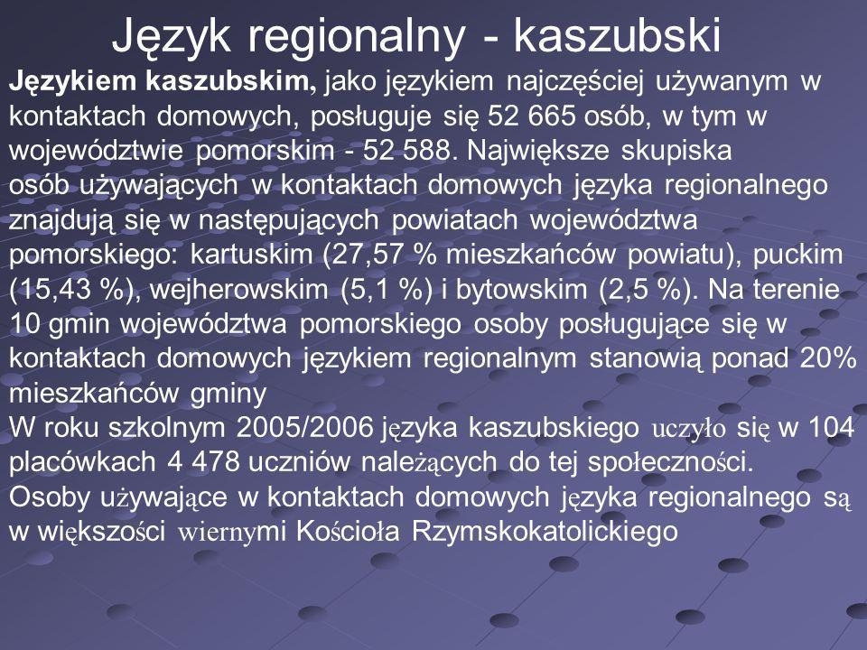 Język regionalny - kaszubski Językiem kaszubskim, jako językiem najczęściej używanym w kontaktach domowych, posługuje się 52 665 osób, w tym w wojewód
