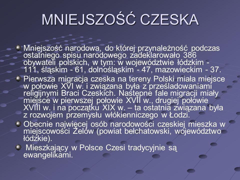 MNIEJSZOŚĆ CZESKA Mniejszość narodowa, do której przynależność podczas ostatniego spisu narodowego zadeklarowało 386 obywateli polskich, w tym: w woje