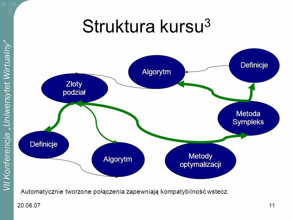 20.06.0711 Automatycznie tworzone połączenia zapewniają kompatybilność wstecz. Definicje Metoda Sympleks Metody optymalizacji Złoty podział Algorytm S
