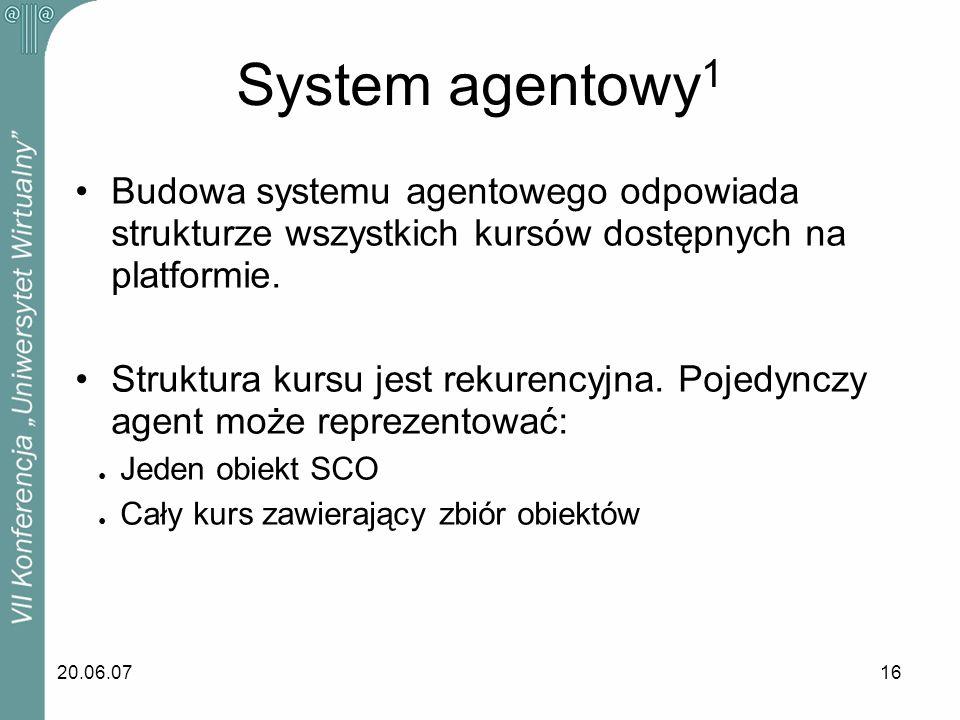 20.06.0716 Budowa systemu agentowego odpowiada strukturze wszystkich kursów dostępnych na platformie. Struktura kursu jest rekurencyjna. Pojedynczy ag