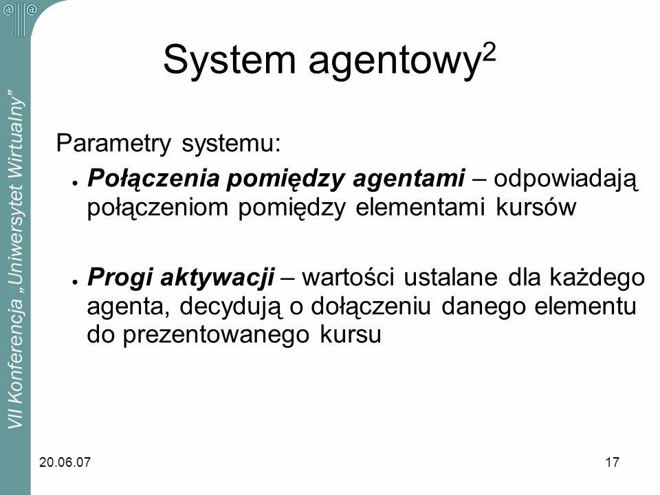 20.06.0717 Parametry systemu: Połączenia pomiędzy agentami – odpowiadają połączeniom pomiędzy elementami kursów Progi aktywacji – wartości ustalane dl