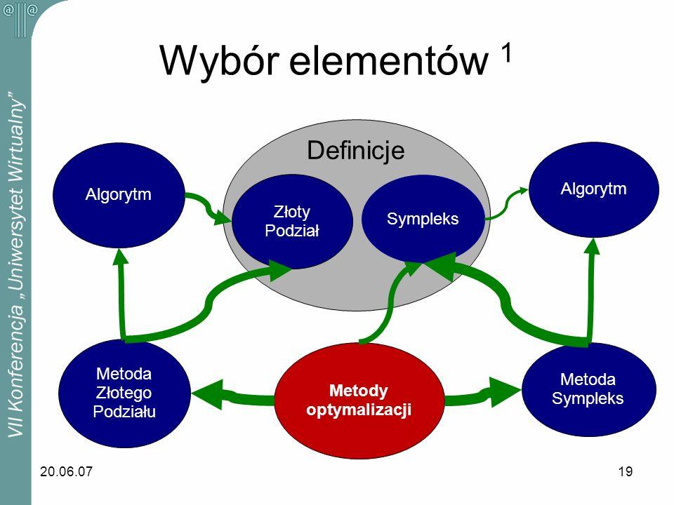 20.06.0719 Wybór elementów 1 Sympleks Algorytm Metoda Sympleks Metody optymalizacji Metoda Złotego Podziału Algorytm Złoty Podział Definicje