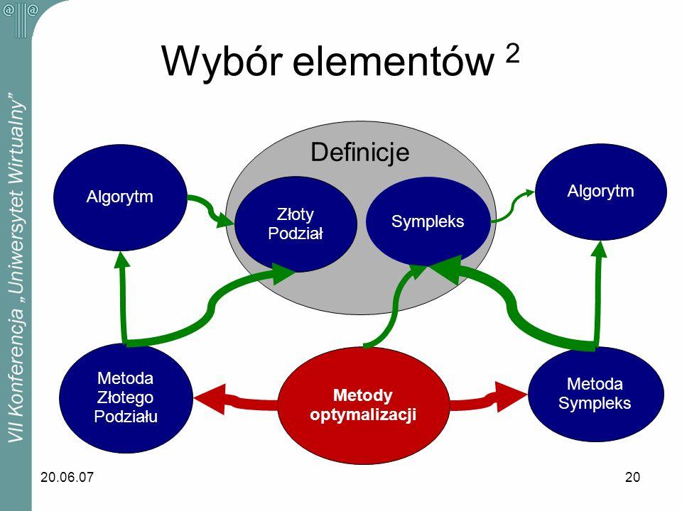 20.06.0720 Wybór elementów 2 Sympleks Algorytm Metoda Sympleks Metody optymalizacji Metoda Złotego Podziału Algorytm Złoty Podział Definicje