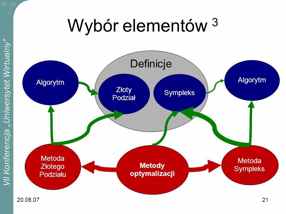 20.06.0721 Wybór elementów 3 Sympleks Algorytm Metoda Sympleks Metody optymalizacji Metoda Złotego Podziału Algorytm Złoty Podział Definicje