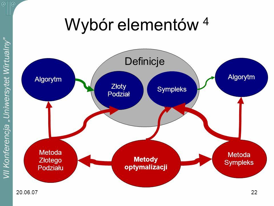 20.06.0722 Wybór elementów 4 Sympleks Algorytm Metoda Sympleks Metody optymalizacji Metoda Złotego Podziału Algorytm Złoty Podział Definicje