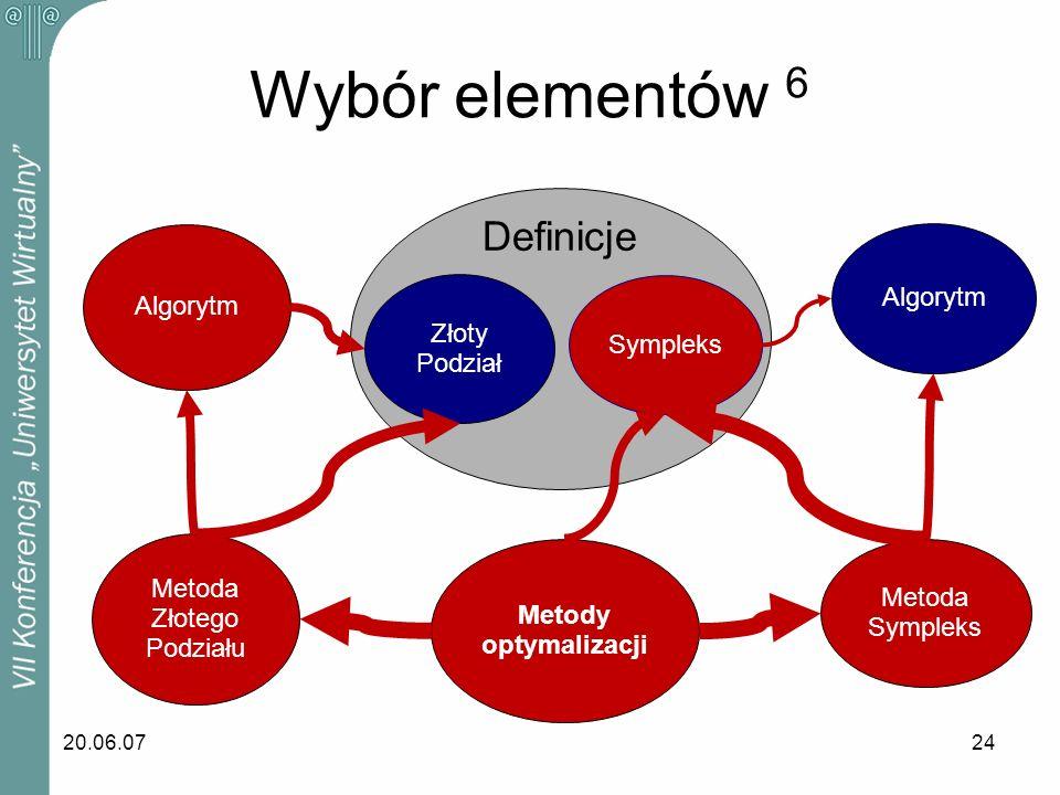 20.06.0724 Wybór elementów 6 Sympleks Algorytm Metoda Sympleks Metody optymalizacji Metoda Złotego Podziału Algorytm Złoty Podział Definicje