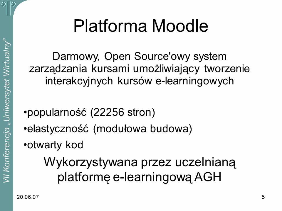 20.06.075 Platforma Moodle Darmowy, Open Source'owy system zarządzania kursami umożliwiający tworzenie interakcyjnych kursów e-learningowych popularno