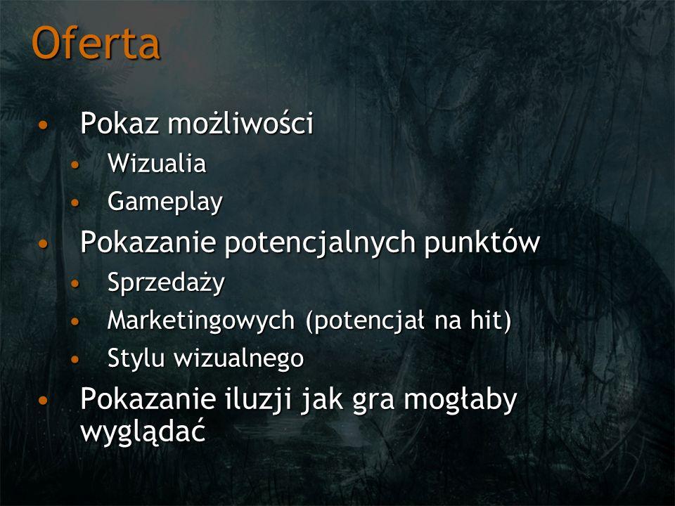 Oferta Pokaz możliwościPokaz możliwości WizualiaWizualia GameplayGameplay Pokazanie potencjalnych punktówPokazanie potencjalnych punktów SprzedażySprz