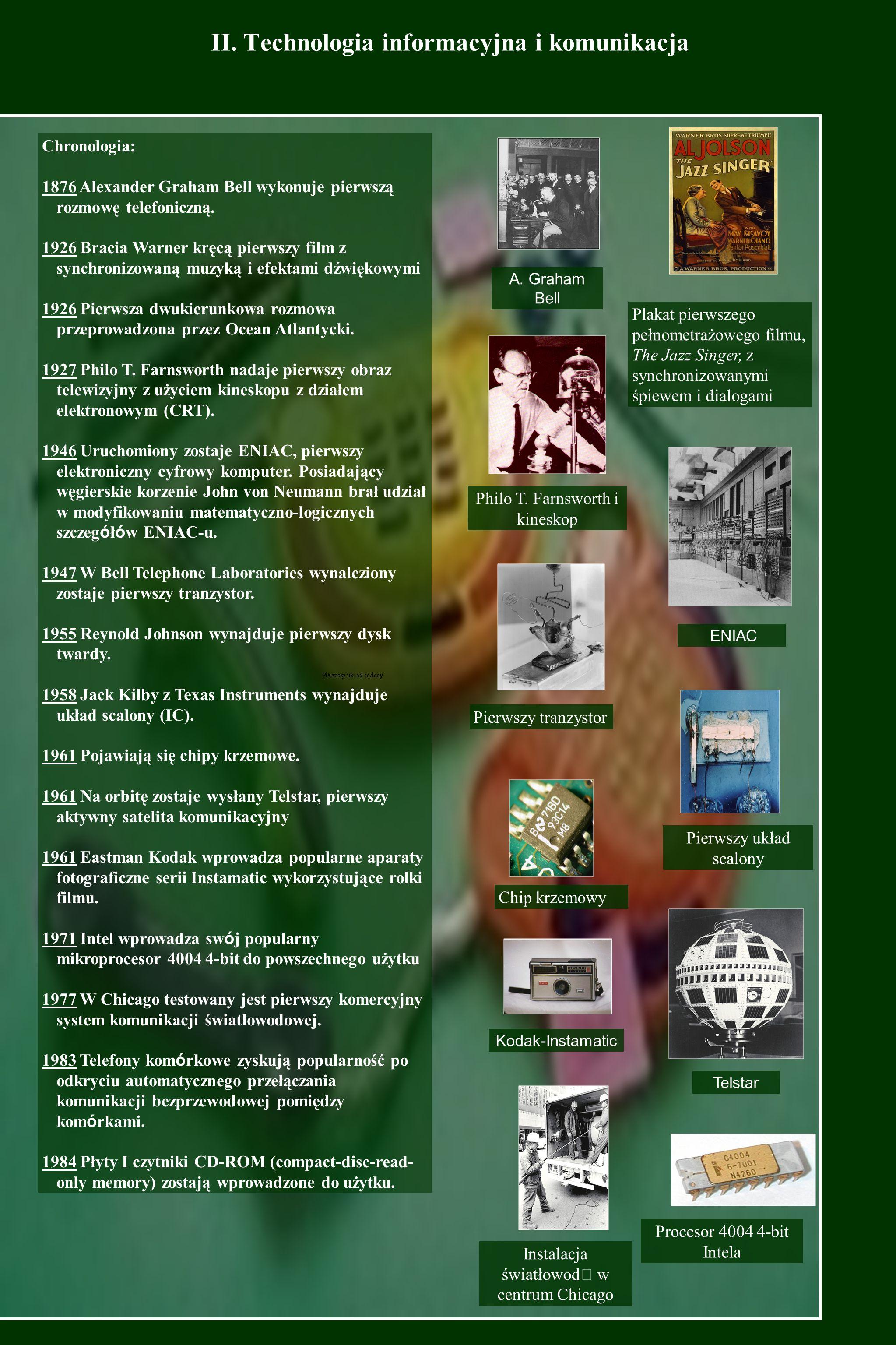 II. Technologia informacyjna i komunikacja A. Graham Bell Plakat pierwszego pełnometrażowego filmu, The Jazz Singer, z synchronizowanymi śpiewem i dia