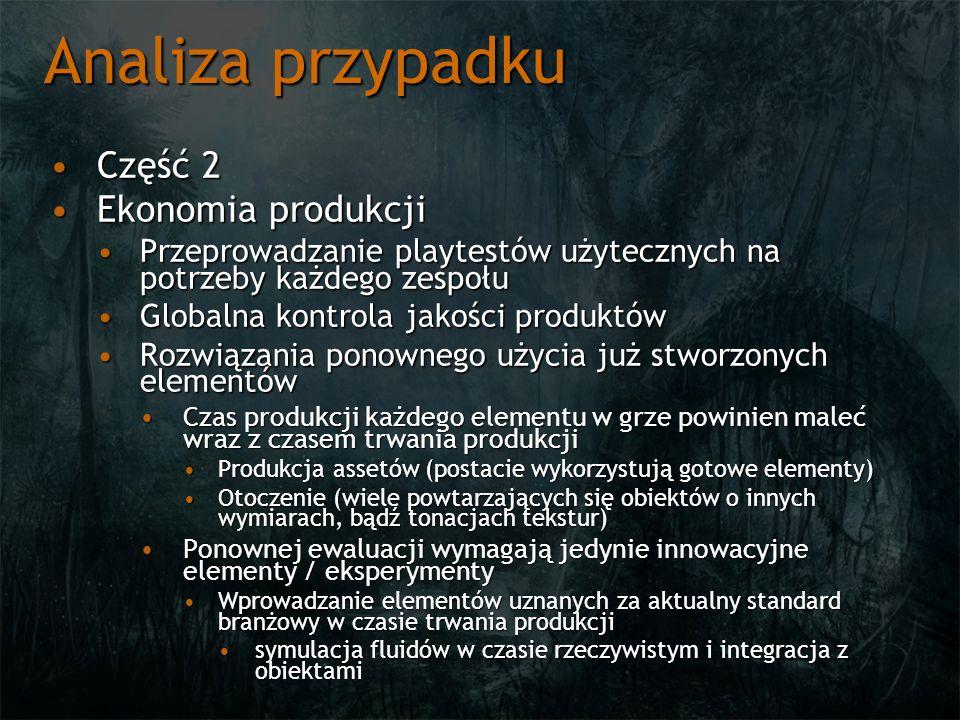 Analiza przypadku Część 2Część 2 Ekonomia produkcjiEkonomia produkcji Przeprowadzanie playtestów użytecznych na potrzeby każdego zespołuPrzeprowadzani
