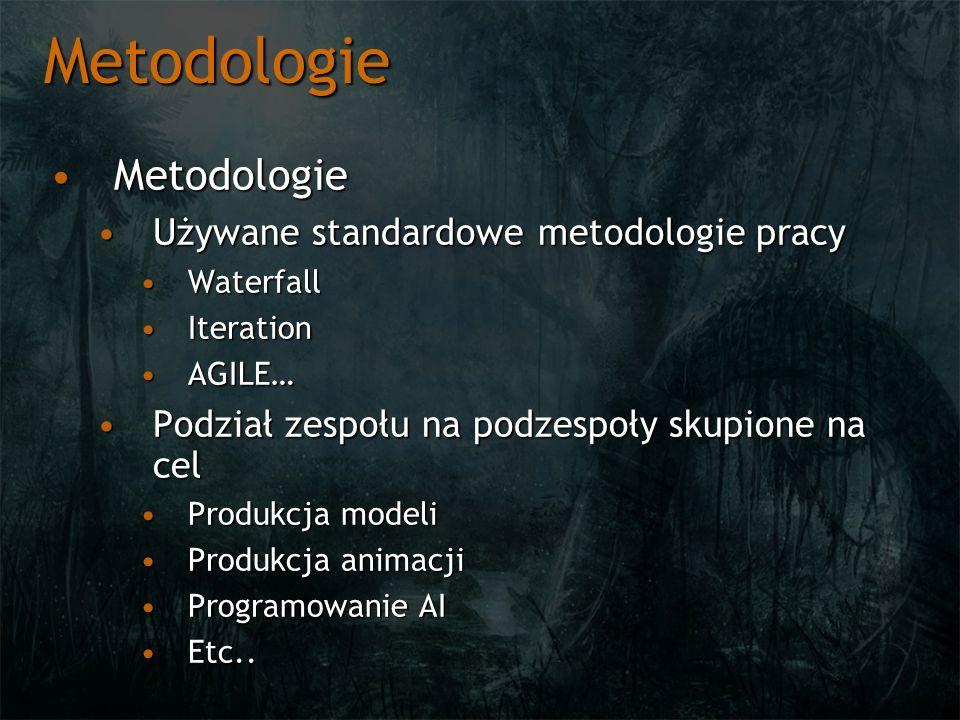 Metodologie MetodologieMetodologie Używane standardowe metodologie pracyUżywane standardowe metodologie pracy WaterfallWaterfall IterationIteration AG