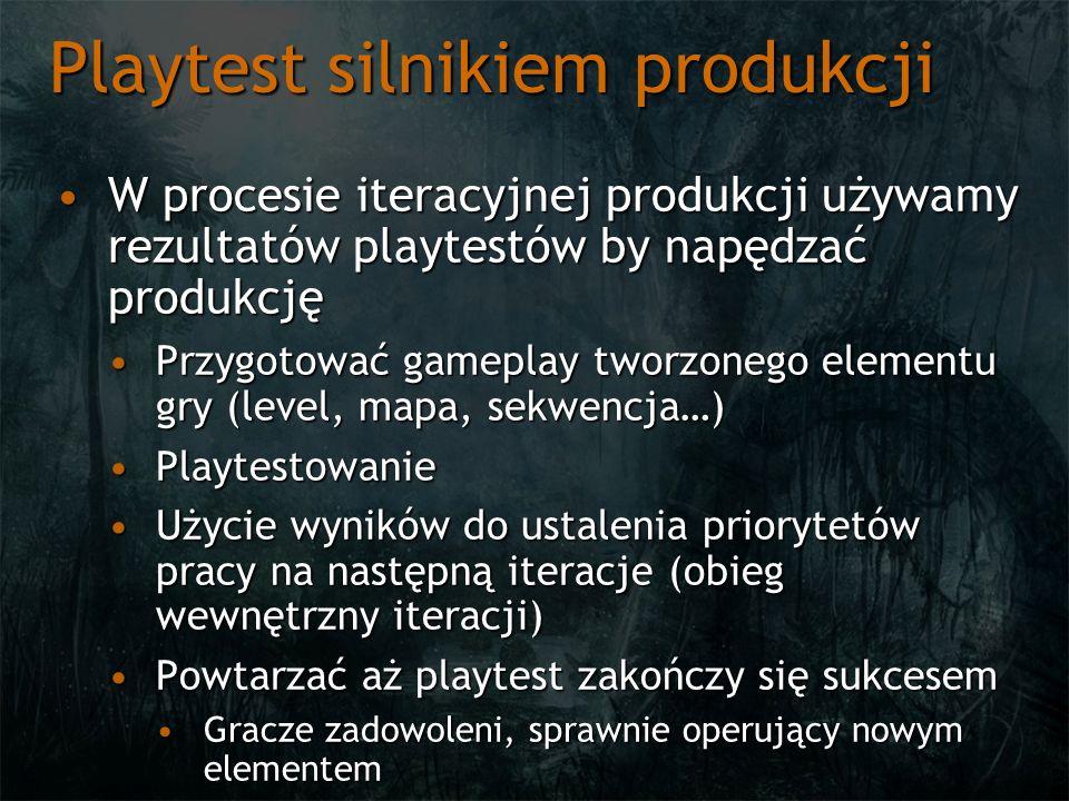 Playtest silnikiem produkcji W procesie iteracyjnej produkcji używamy rezultatów playtestów by napędzać produkcjęW procesie iteracyjnej produkcji używ