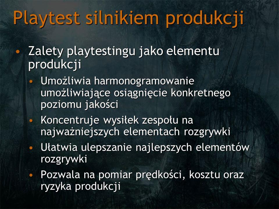 Playtest silnikiem produkcji Zalety playtestingu jako elementu produkcjiZalety playtestingu jako elementu produkcji Umożliwia harmonogramowanie umożli