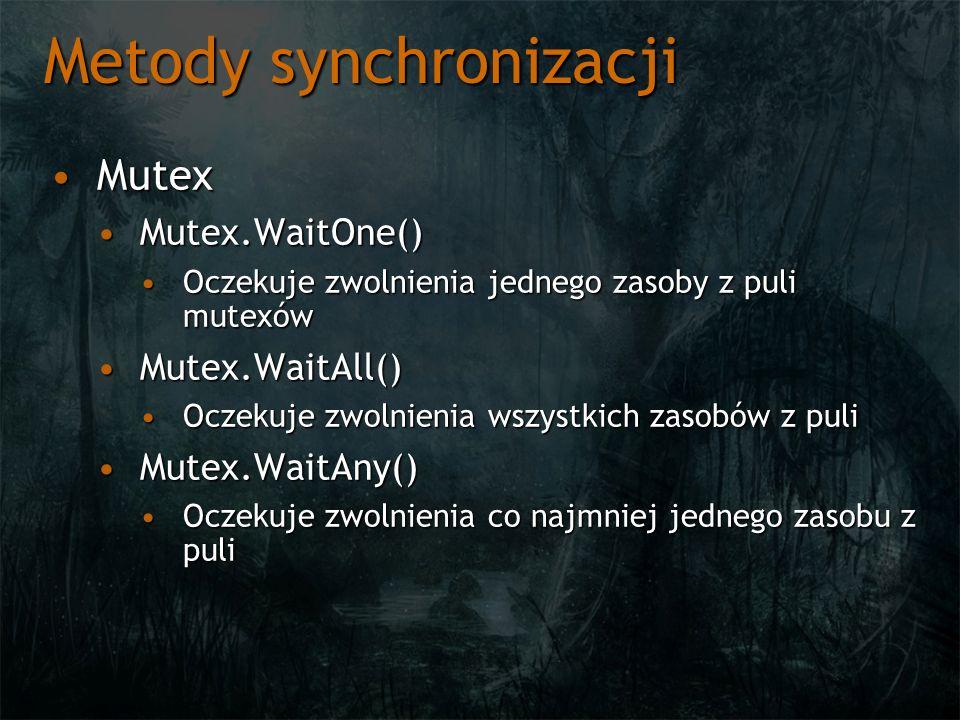 Metody synchronizacji MutexMutex Mutex.WaitOne()Mutex.WaitOne() Oczekuje zwolnienia jednego zasoby z puli mutexówOczekuje zwolnienia jednego zasoby z puli mutexów Mutex.WaitAll()Mutex.WaitAll() Oczekuje zwolnienia wszystkich zasobów z puliOczekuje zwolnienia wszystkich zasobów z puli Mutex.WaitAny()Mutex.WaitAny() Oczekuje zwolnienia co najmniej jednego zasobu z puliOczekuje zwolnienia co najmniej jednego zasobu z puli