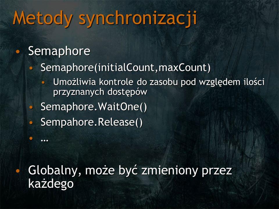 Metody synchronizacji SemaphoreSemaphore Semaphore(initialCount,maxCount)Semaphore(initialCount,maxCount) Umożliwia kontrole do zasobu pod względem ilości przyznanych dostępówUmożliwia kontrole do zasobu pod względem ilości przyznanych dostępów Semaphore.WaitOne()Semaphore.WaitOne() Sempahore.Release()Sempahore.Release() … Globalny, może być zmieniony przez każdegoGlobalny, może być zmieniony przez każdego