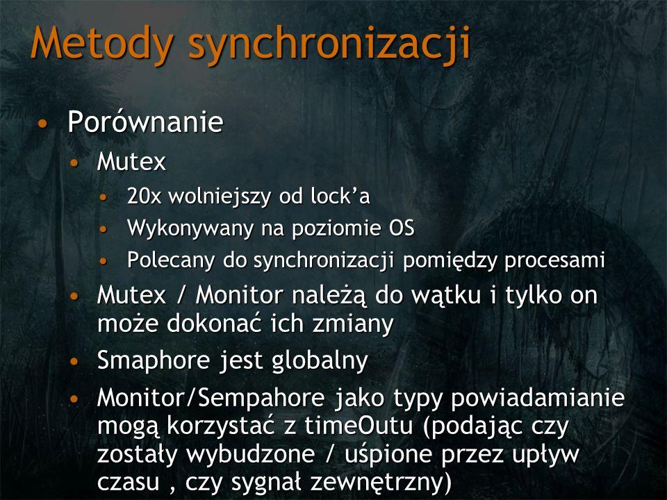 Metody synchronizacji PorównaniePorównanie MutexMutex 20x wolniejszy od locka20x wolniejszy od locka Wykonywany na poziomie OSWykonywany na poziomie OS Polecany do synchronizacji pomiędzy procesamiPolecany do synchronizacji pomiędzy procesami Mutex / Monitor należą do wątku i tylko on może dokonać ich zmianyMutex / Monitor należą do wątku i tylko on może dokonać ich zmiany Smaphore jest globalnySmaphore jest globalny Monitor/Sempahore jako typy powiadamianie mogą korzystać z timeOutu (podając czy zostały wybudzone / uśpione przez upływ czasu, czy sygnał zewnętrzny)Monitor/Sempahore jako typy powiadamianie mogą korzystać z timeOutu (podając czy zostały wybudzone / uśpione przez upływ czasu, czy sygnał zewnętrzny)