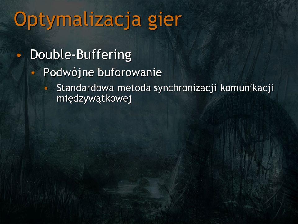 Optymalizacja gier Double-BufferingDouble-Buffering Podwójne buforowaniePodwójne buforowanie Standardowa metoda synchronizacji komunikacji międzywątkowejStandardowa metoda synchronizacji komunikacji międzywątkowej