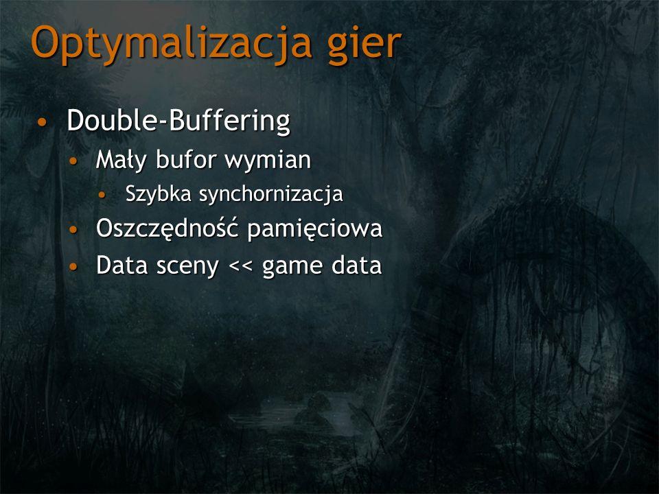 Optymalizacja gier Double-BufferingDouble-Buffering Mały bufor wymianMały bufor wymian Szybka synchornizacjaSzybka synchornizacja Oszczędność pamięcio