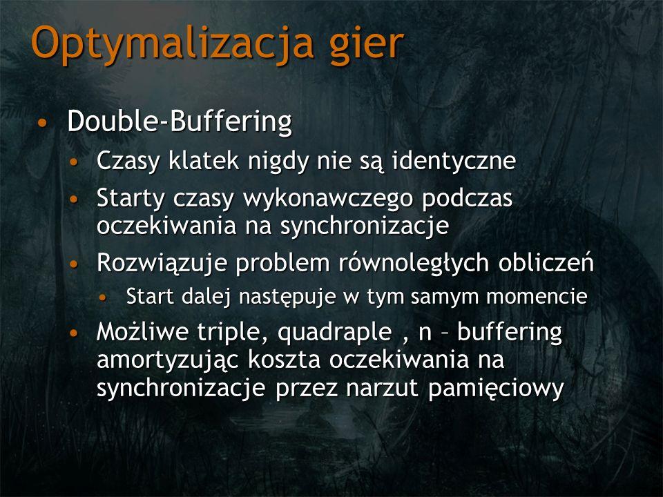 Optymalizacja gier Double-BufferingDouble-Buffering Czasy klatek nigdy nie są identyczneCzasy klatek nigdy nie są identyczne Starty czasy wykonawczego