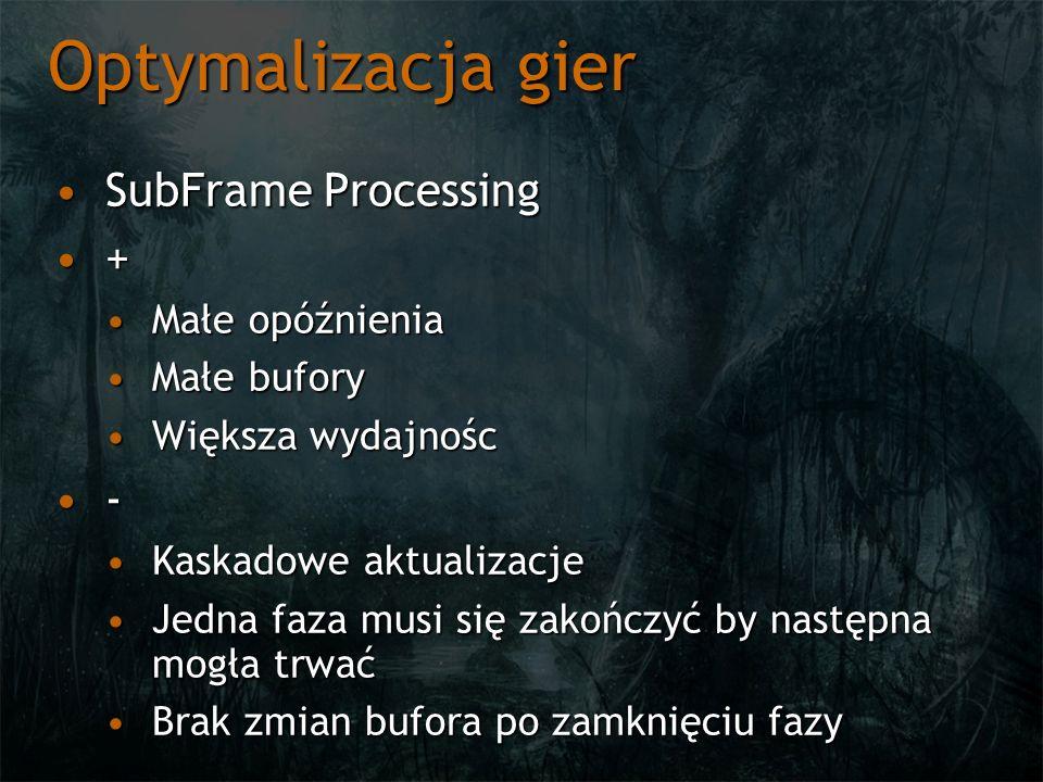 Optymalizacja gier SubFrame ProcessingSubFrame Processing + Małe opóźnieniaMałe opóźnienia Małe buforyMałe bufory Większa wydajnoścWiększa wydajnośc - Kaskadowe aktualizacjeKaskadowe aktualizacje Jedna faza musi się zakończyć by następna mogła trwaćJedna faza musi się zakończyć by następna mogła trwać Brak zmian bufora po zamknięciu fazyBrak zmian bufora po zamknięciu fazy