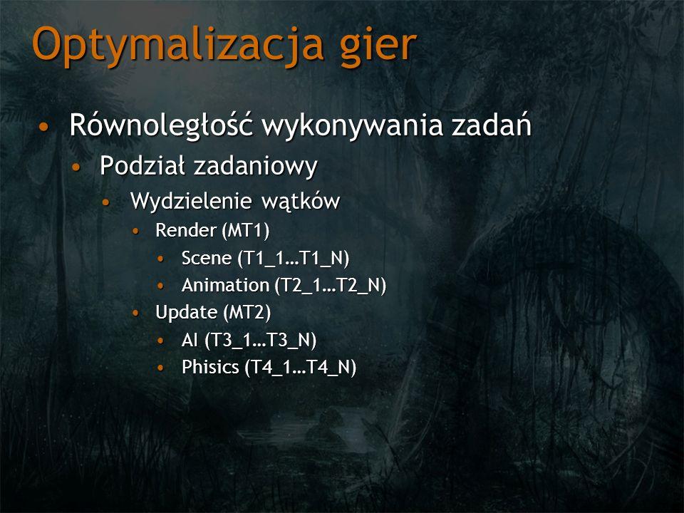 Optymalizacja gier Równoległość wykonywania zadańRównoległość wykonywania zadań Podział zadaniowyPodział zadaniowy Wydzielenie wątkówWydzielenie wątków Render (MT1)Render (MT1) Scene (T1_1…T1_N)Scene (T1_1…T1_N) Animation (T2_1…T2_N)Animation (T2_1…T2_N) Update (MT2)Update (MT2) AI (T3_1…T3_N)AI (T3_1…T3_N) Phisics (T4_1…T4_N)Phisics (T4_1…T4_N)