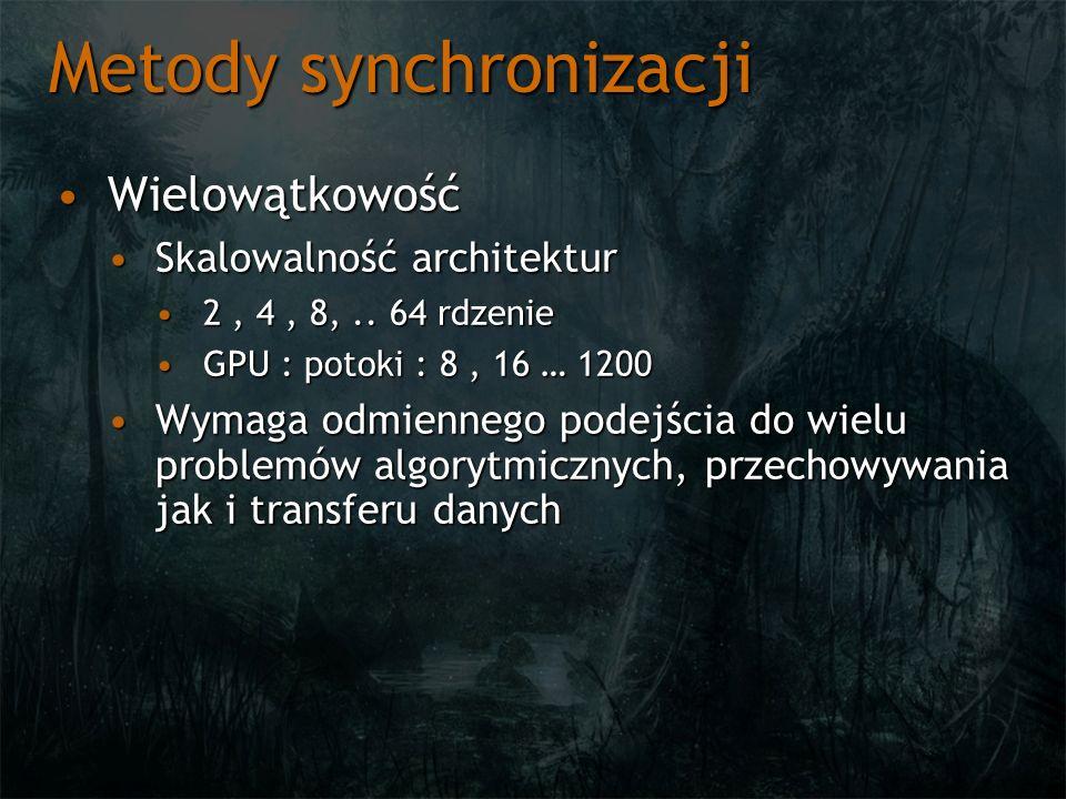 Metody synchronizacji WielowątkowośćWielowątkowość Skalowalność architekturSkalowalność architektur 2, 4, 8,..
