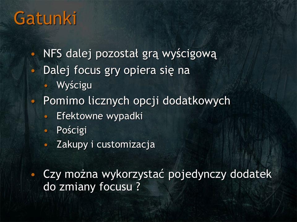 Gatunki NFS dalej pozostał grą wyścigowąNFS dalej pozostał grą wyścigową Dalej focus gry opiera się naDalej focus gry opiera się na WyściguWyścigu Pomimo licznych opcji dodatkowychPomimo licznych opcji dodatkowych Efektowne wypadkiEfektowne wypadki PościgiPościgi Zakupy i customizacjaZakupy i customizacja Czy można wykorzystać pojedynczy dodatek do zmiany focusu ?Czy można wykorzystać pojedynczy dodatek do zmiany focusu ?