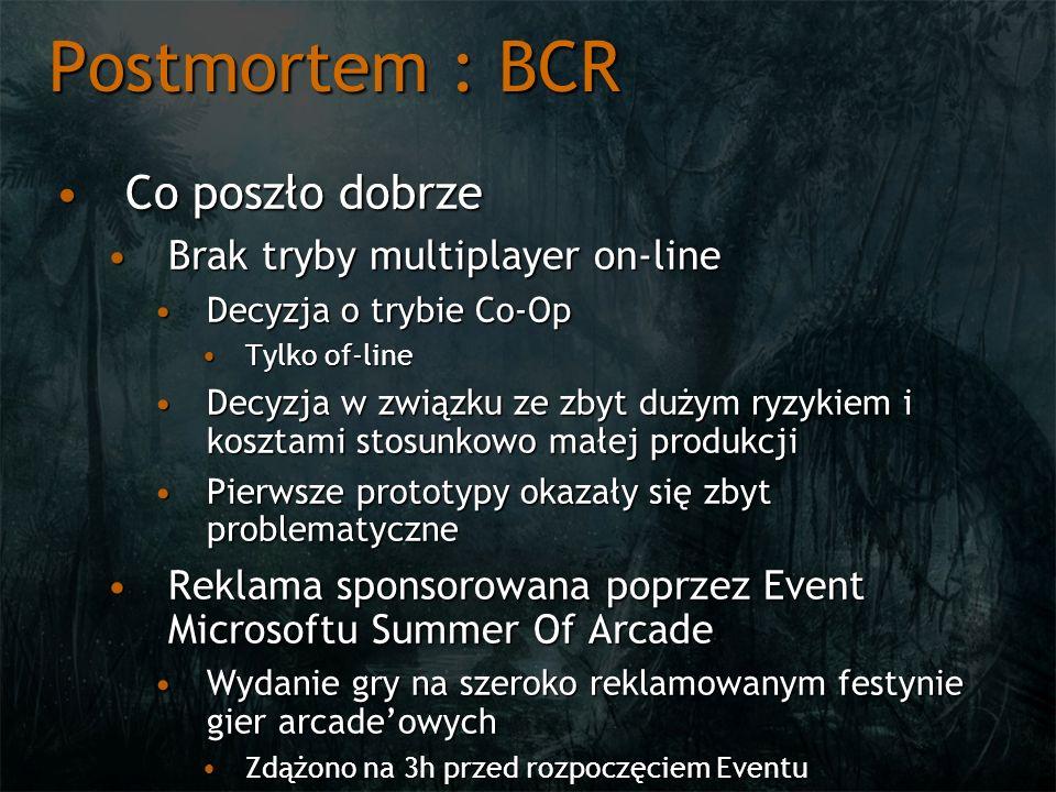 Postmortem : BCR Co poszło dobrzeCo poszło dobrze Brak tryby multiplayer on-lineBrak tryby multiplayer on-line Decyzja o trybie Co-OpDecyzja o trybie