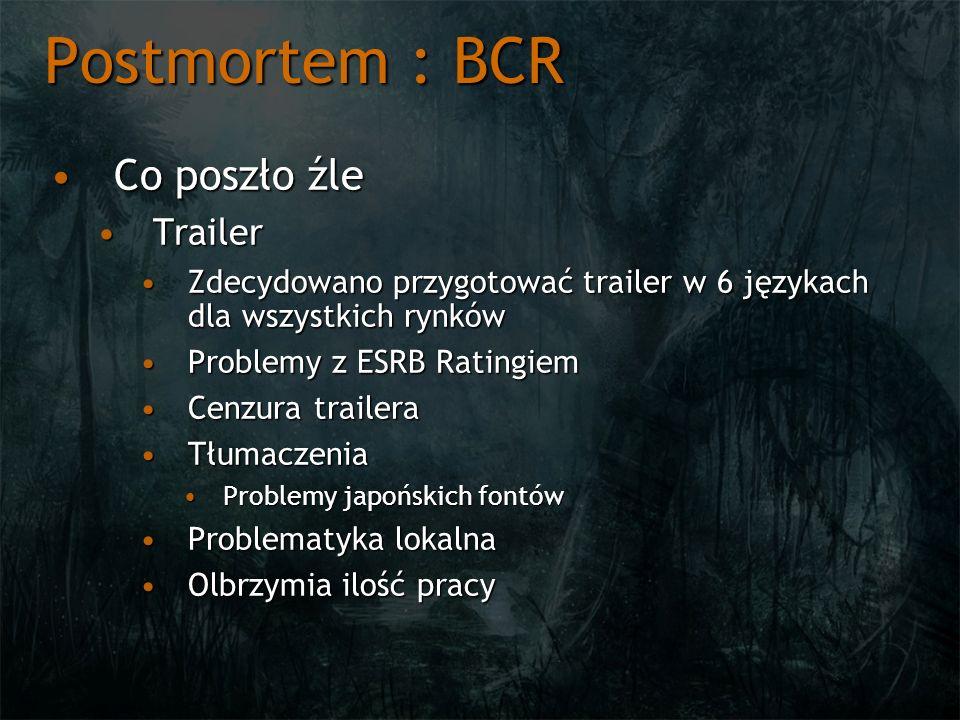 Postmortem : BCR Co poszło źleCo poszło źle TrailerTrailer Zdecydowano przygotować trailer w 6 językach dla wszystkich rynkówZdecydowano przygotować t