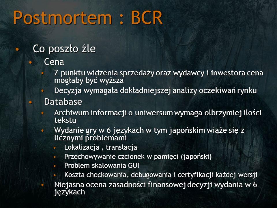 Postmortem : BCR Co poszło źleCo poszło źle CenaCena Z punktu widzenia sprzedaży oraz wydawcy i inwestora cena mogłaby być wyższaZ punktu widzenia spr