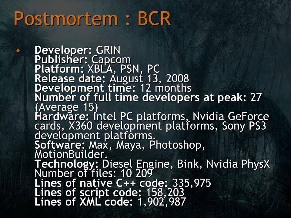 Postmortem : BCR Developer: GRIN Publisher: Capcom Platform: XBLA, PSN, PC Release date: August 13, 2008 Development time: 12 months Number of full ti