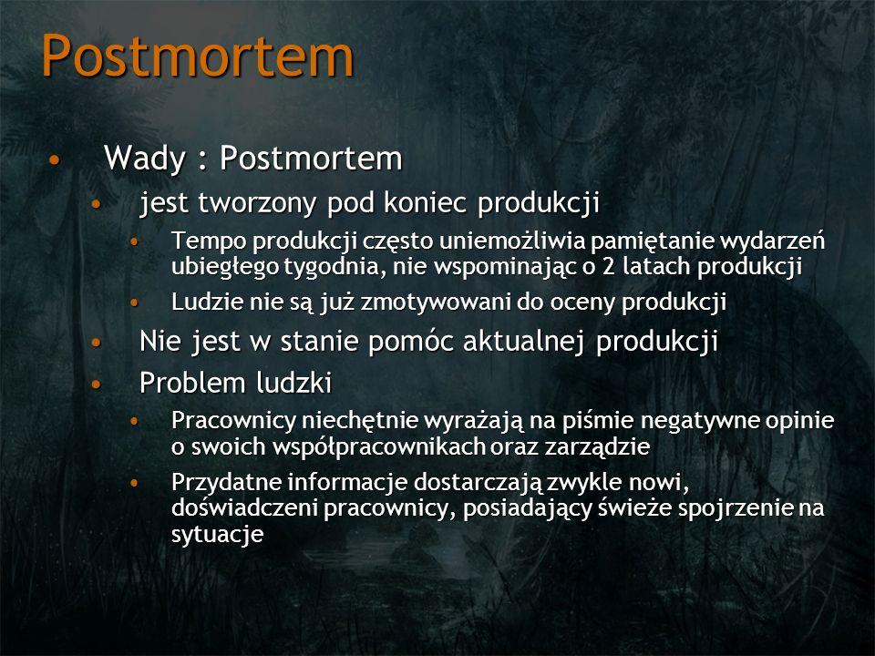 Postmortem Wady : PostmortemWady : Postmortem jest tworzony pod koniec produkcjijest tworzony pod koniec produkcji Tempo produkcji często uniemożliwia