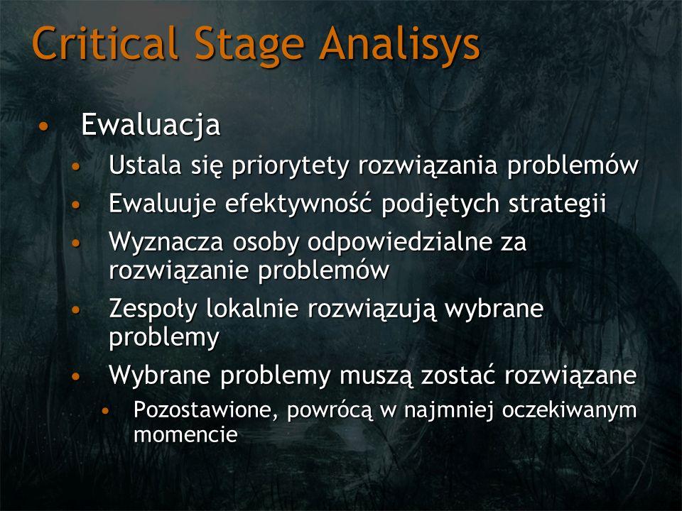Critical Stage Analisys EwaluacjaEwaluacja Ustala się priorytety rozwiązania problemówUstala się priorytety rozwiązania problemów Ewaluuje efektywność
